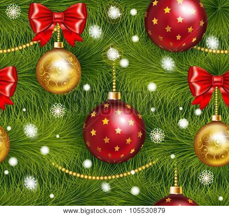 Realistic christmas tree seamless with traditional red and gold christmas ball bow and others christ