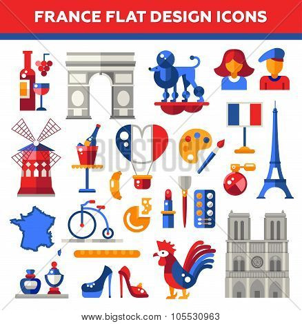 Set of flat design France travel icons, infographics elements with landmarks and famous French symbo