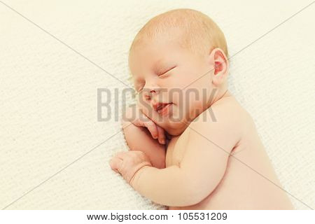 Cute Baby Sleeping On Bed At Home, Top View