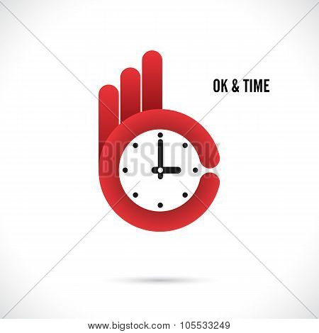 Creative Hand And Clock Shape Abstract Logo Design.hand Ok Symbol Icon.corporate Business Creative L