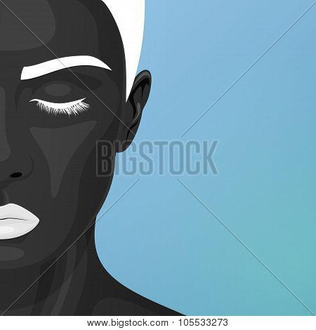 Half Face of Woman with Art Makeup