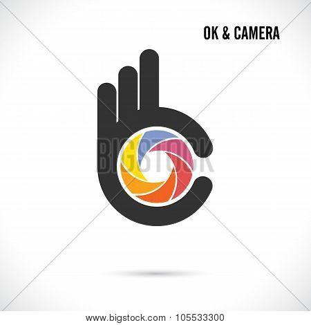 Creative Hand And Camera Lens Abstract Logo Design.hand Ok Symbol Icon.corporate Business Creative L