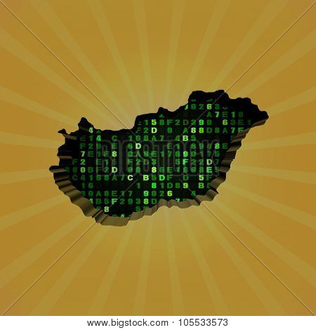 Hungary sunburst map with hex code illustration