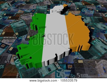 Ireland Map flag on Euros illustration