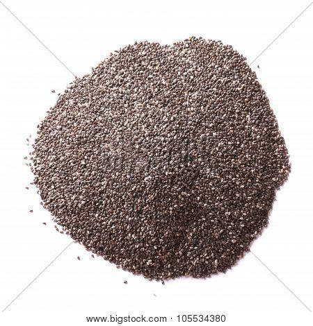 Pile Chia Seeds Macro Isolated On White Background.