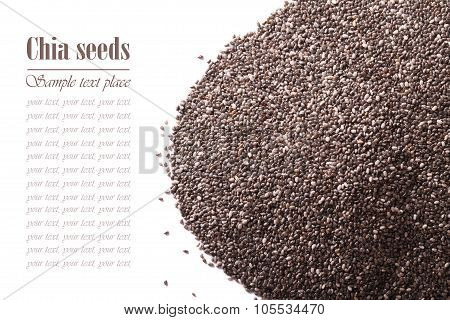 Chia Seeds Macro Isolated On White. Horizontal For The Inscription