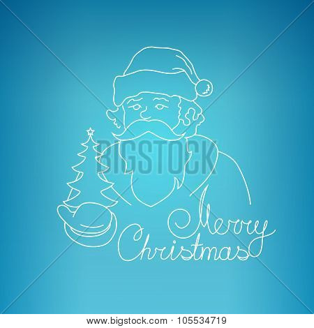Santa Claus  On A Blue Background