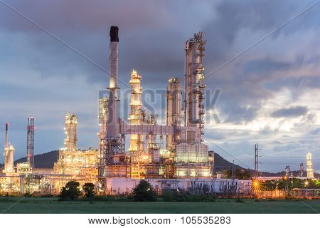 Oil Refinery Factory At Dark