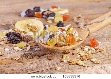 Cereals Muesli Food In Wooden Spoon