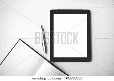Tablet With Notebook Black And White Color Style
