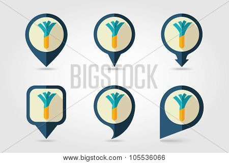 Leek mapping pins icons with long shadow
