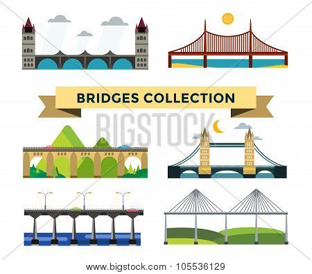 Bridge silhouette vector illustration set
