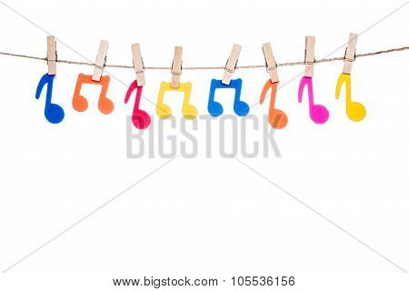 Clip On A  Twine , Hanging Colorful Music Symbol