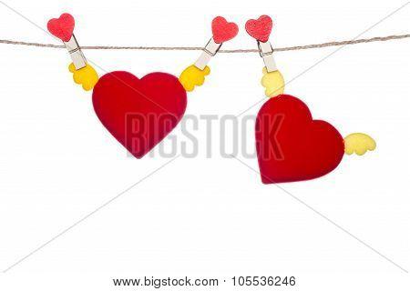 Heart  Shape Clip On A  Twine , Hanging Wings Heart