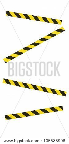 Yellow And Black Striped Hazard Tape Blocking Doorway - Isolated For Editing Into Images