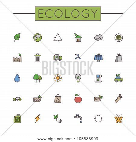 Vector Colored Ecology Line Icons