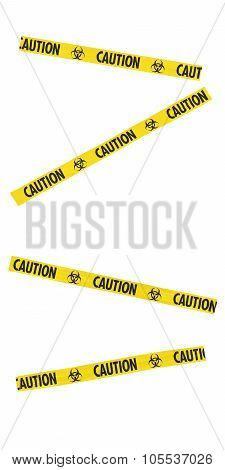 Yellow And Black Caution Biohazard Symbol Tape Blocking Doorway - Isolated For Editing Into Images