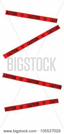 Red And Black Caution Biohazard Symbol Tape Blocking Doorway - Isolated For Editing Into Images