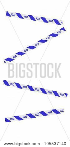 Blue And White Stripy Police Tape Blocking Doorway - Isolated For Editing Into Images