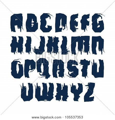 Handwritten Dirty Contemporary Vector Uppercase Letters, Doodle Hand-painted Alphabet.