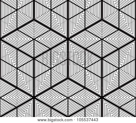 Black And White Illusive Abstract Geometric Seamless 3D Pattern. Vector Stylized Backdrop