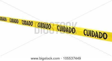 Cuidado Tape Line At Angle