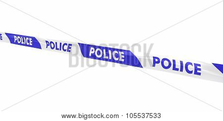 Blue And White Striped Police Tape Line At Angle