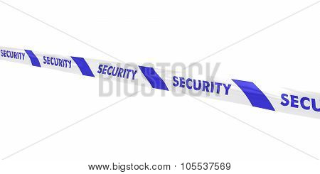 Blue And White Security Tape Line At Angle