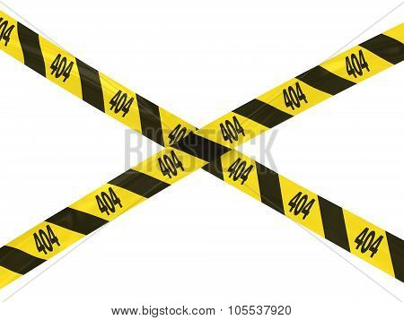 Yellow 404 Page Not Found Barrier Tape Cross