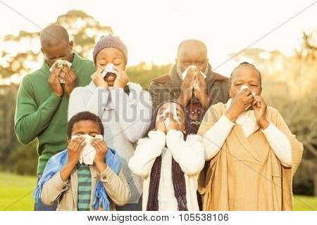 Extended family blowing their nose in parkland