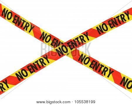 Red And Yellow Striped No Entry Barrier Tape Cross