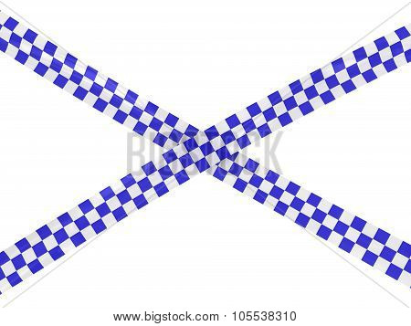 Blue And White Checkered Barrier Tape Cross