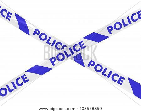Blue And White Police Barrier Tape Cross