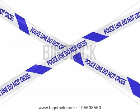 Blue And White Police Line Do Not Cross Barrier Tape Cross