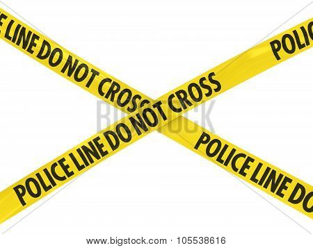 Yellow Police Line Do Not Cross Barrier Tape Cross