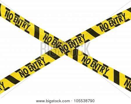 Yellow And Black Hazard Stripes No Entry Tape Cross