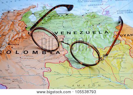Glasses on a map - Venezuela