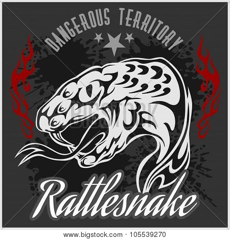 Wild west and rattlesnake - vintage vector artwork for wear