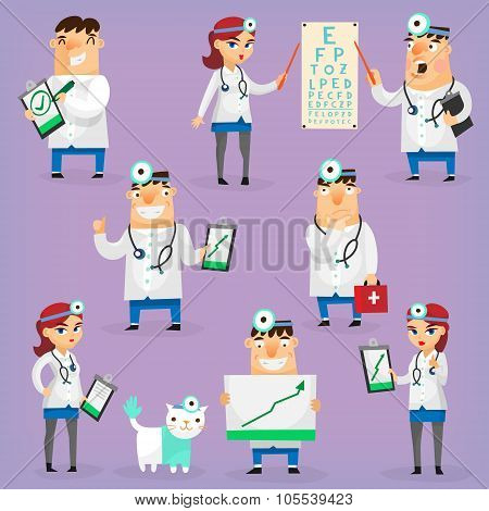 Colorful hospital doctors