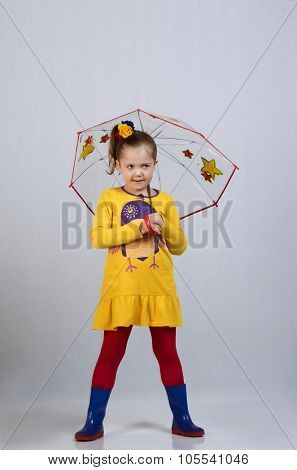 The little beautiful girl with an umbrella