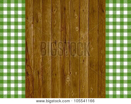 Wooden Planks With Vintage Green White Tablecloth