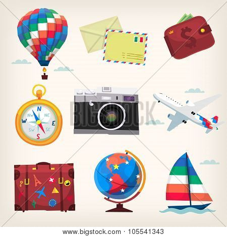 Set of colorful travel items