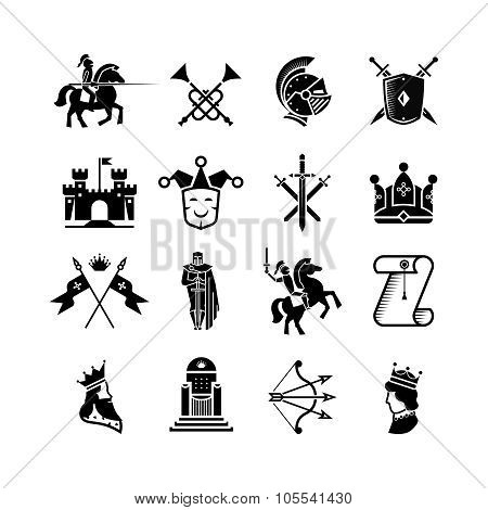 Knight medieval history vector icons set. Middle ages warrior weapons