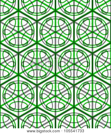 Illusive Continuous green Pattern, Decorative Abstract Background With 3D Geometric Figures.