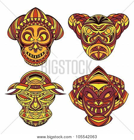 Tribal mask. Collection of masks with ethnic geometric ornament. Hand drawn vector illustration