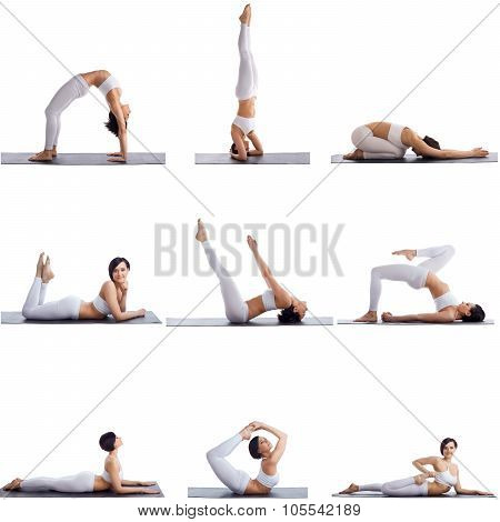 Collage of many aerobics poses by female athlete
