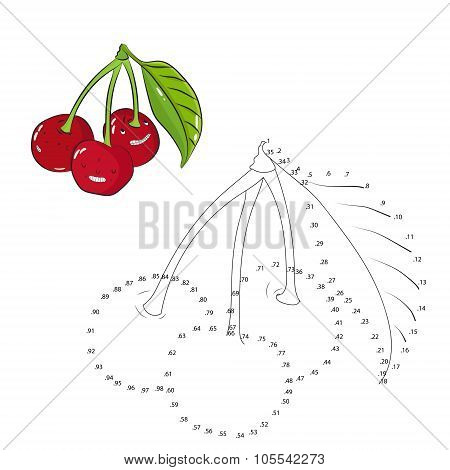 Educational game connect dots draw cherry vector