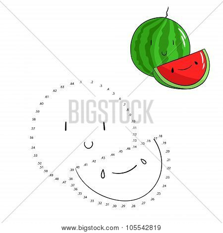 Educational game connect dots draw watermelon