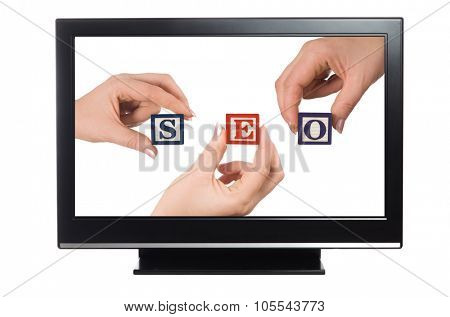 plasma or lcd television with seo concept