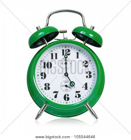 Big green alarm clock, isolated on white background